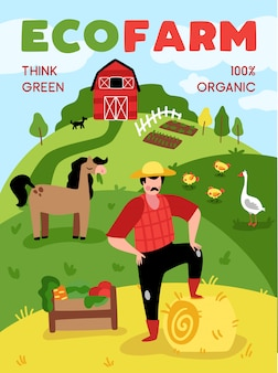 郊外の農場の風景とテキストのベクトル図と動物の落書きスタイル構成とエコ農業垂直ポスター