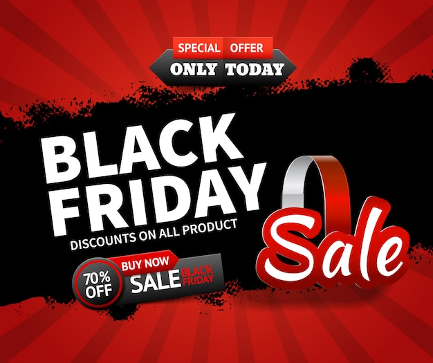 Плоский дизайн черная пятница продажа и скидки на все товары баннер шаблон