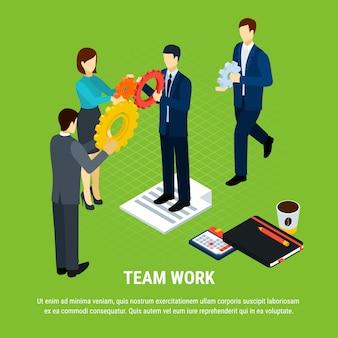 ギアの図を保持しているオフィスワーカーの人間のキャラクターと等尺性ビジネス人々