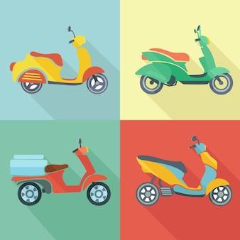 Скутер ретро транспорта старинные мотоцикл город путешествия значок плоский набор векторных иллюстраций