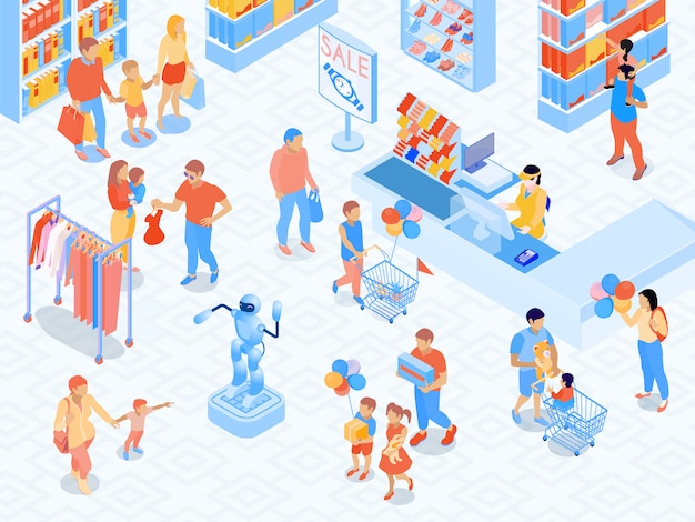モールの両親と商品選択等尺性ベクトル図中に子供のレジの近くの家族のショッピングシーン
