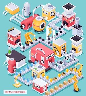 Стимпанк концепция машины с генератором идей, векторная иллюстрация