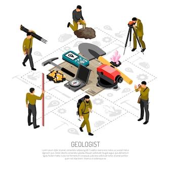地質学者フィールドワーク制服ツール鉱物サンプル測地測定機器等尺性組成物