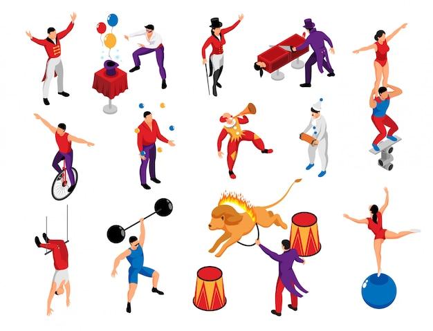 Профессионалы цирка профессии изометрические набор символов с магом силач клоун пантомима акробат лев укротитель изолированных векторная иллюстрация