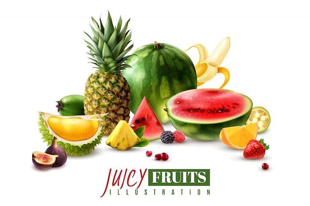 Свежие сочные фрукты целые и сервировочные кусочки дольки дольки реалистичной композиции с арбузом инжир ананас векторная иллюстрация