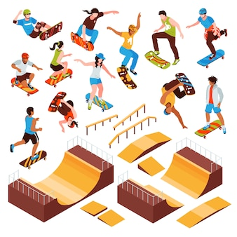 Изометрические скейтборд платформ набор изолированных скейт-парк элементов роликовых балок и человеческих персонажей спортсменов векторная иллюстрация