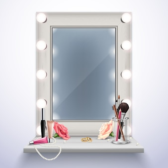 Макияж зеркало косметика и украшения для невесты реалистичные композиции векторная иллюстрация