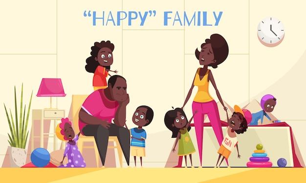Большая семья афроамериканцев в домашнем интерьере с проворными счастливыми детьми и уставшими родителями, мультяшный векторная иллюстрация
