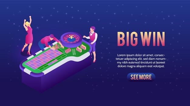 Люди играют в рулетку и выигрывают в баннере казино