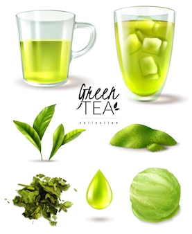 Реалистичный зеленый чай со льдом набор с изолированными изображениями спелых листьев чашки и мороженого совок векторная иллюстрация