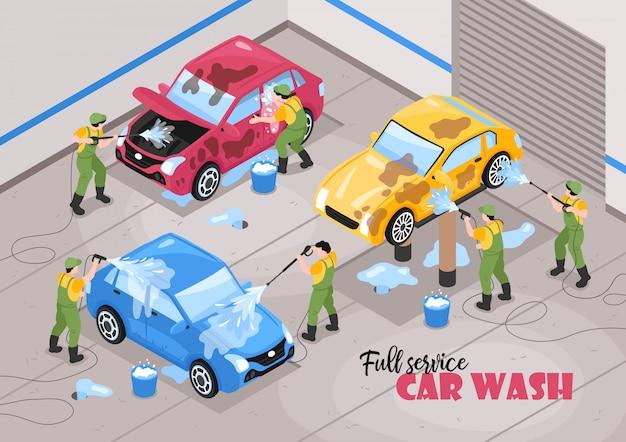 編集可能なテキストと車のベクトル図を持つ労働者の人間のキャラクターと等尺性洗車サービス構成