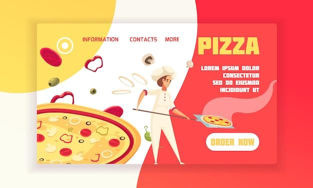 Горизонтальная плоская пицца концепция баннер пекарь готовить пиццу с кнопку сейчас заказать кнопку векторная иллюстрация