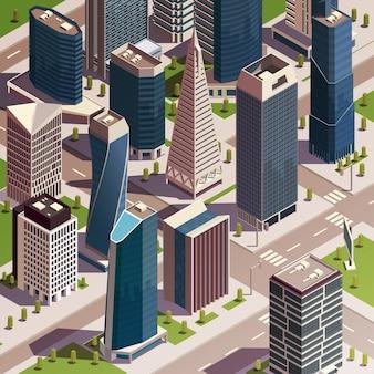 Городские небоскребы изометрической композиции с реалистичным видом современного городского квартала с высокими зданиями и башнями векторная иллюстрация