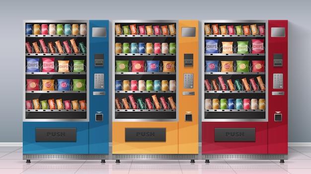 Реалистичная плакат с тремя разноцветными торговыми автоматами, полными напитков и закусок, векторная иллюстрация