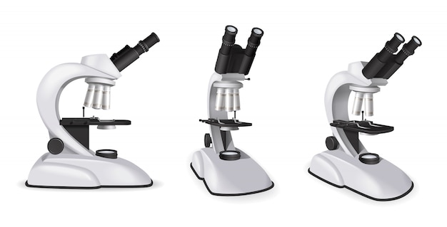 分離された現実的なスタイルのベクトル図にさまざまな角度からプロの顕微鏡ビューのセット