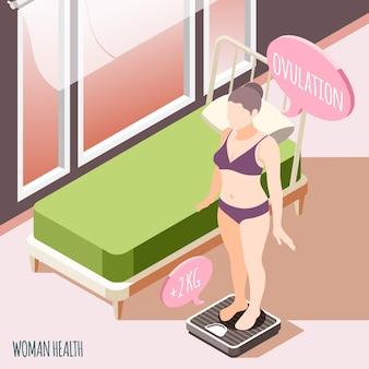 Здоровье женщин изометрии с молодой беременной женщиной, стоящей на напольных весах и проверяющей ее вес, векторная иллюстрация