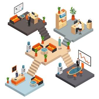 Изометрическая офисная многоэтажная композиция с пятью комнатами на разных этажах, соединенными лестницей, векторная иллюстрация