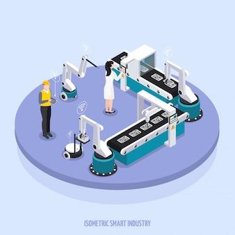 Изометрические умные промышленность круглая платформа с двумя рабочими контролируют оборудование векторные иллюстрации
