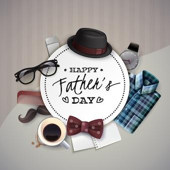 Круглая рамка с элементами дня отца