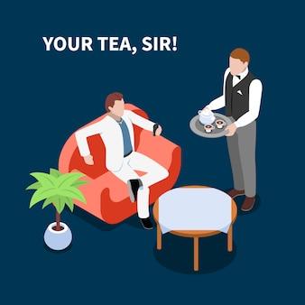 Домашний персонал, обслуживающий чай изометрической сцены