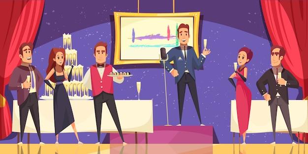 オーガナイザーのスピーチとビュッフェテーブル漫画での美術展オープニングの機会に宴会