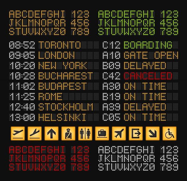 Реалистичная композиция конструктора табло аэропорта с набором желтых, красных, белых и зеленых букв для иллюстрации табло аэропорта
