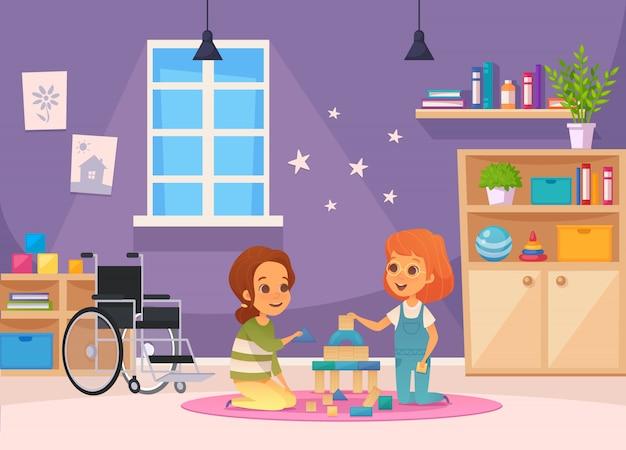 Включение инклюзивного образования, мультипликационная композиция, двое детей сидят в комнате и играют в иллюстрации