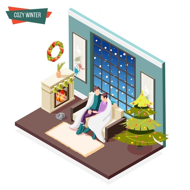 暖炉のイラストの近くに座っている暖かい格子縞で覆われている男と女と居心地の良い冬等尺性デザインコンセプト
