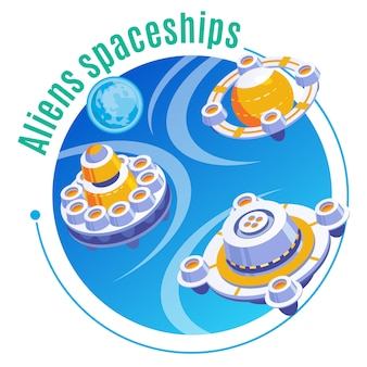Изометрическая и цветная эмблема пришельцев с заголовком космических кораблей пришельцев и изображением трех самолетов