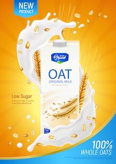 Реалистичный плакат с овсяным молоком как рекламная иллюстрация оригинального органического продукта без молочных продуктов и сахара