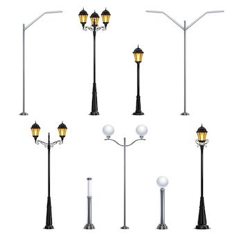 Уличные фонари реалистичные значок набор на белом фоне в разных стилях для иллюстрации города