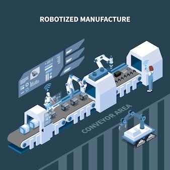 Роботизированная производственная изометрическая композиция с элементами интерфейса автоматизированного конвейерного робототехнического оборудования панели управления