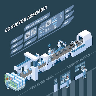 暗闇のアセンブリコンベヤーのホログラフィックコントロールパネルを備えたインテリジェントな製造アイソメトリックコンポジション