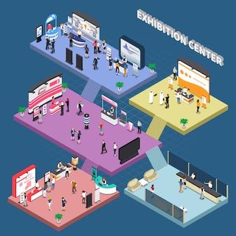 Многоэтажный выставочный центр с корпоративными рекламными стендами и изометрической композицией посетителей на синем фоне