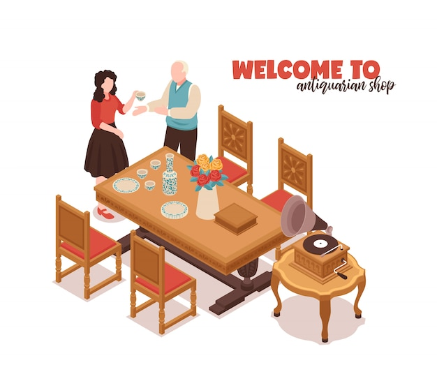 Добро пожаловать в антикварный магазин белого цвета с покупателем-продавцом и антикварной мебелью для дома изометрической