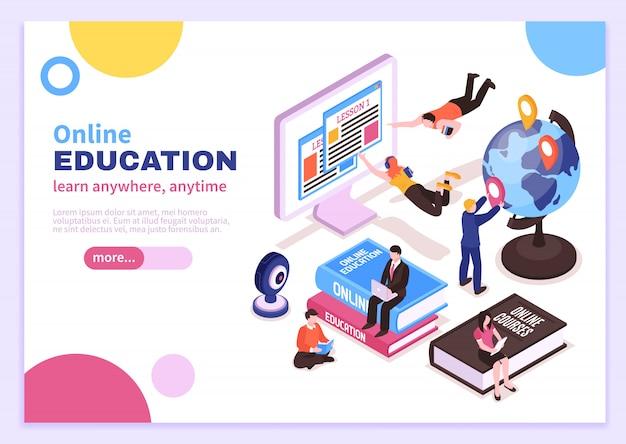 Изометрический онлайн-постер с учебными пособиями, рекламирующий дистанционные курсы и слоган, учиться где угодно и когда угодно