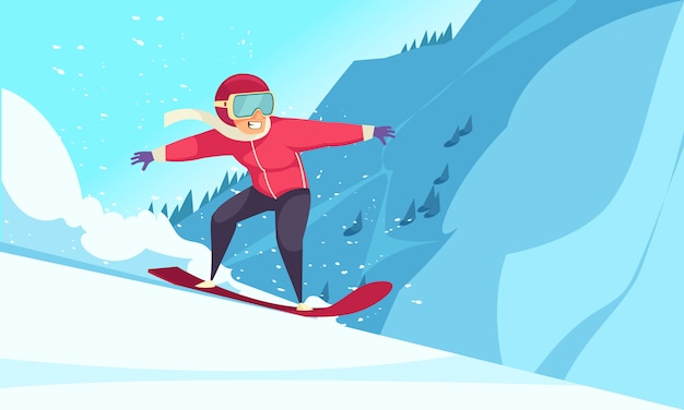 Зимние экстремальные виды спорта с плоской символикой сноуборда