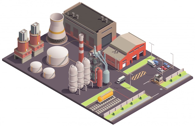 Изометрическая композиция промышленных зданий с видом на территорию завода с изображениями заводских зданий и сооружений