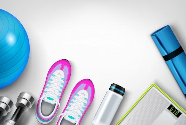 Фитнес-обувь кроссовки бутылку с водой циновка шкала гантели упражнения мяч реалистичный вид сверху композиция
