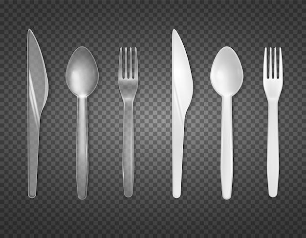 透明で分離された透明で白いプラスチック製のトップビュー現実的な食器セットから使い捨てカトラリー