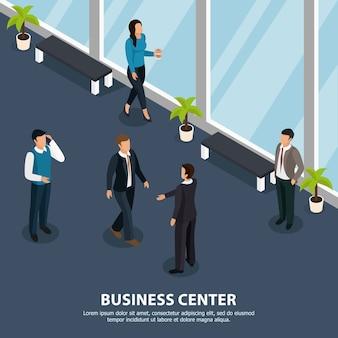 Люди во время различных мероприятий в коридоре бизнес-центра изометрические