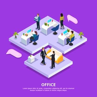 Сотрудники офиса на рабочих местах и во время деловой встречи изометрической композиции на фиолетовый