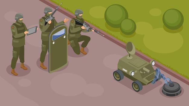 Изометрическая композиция военных роботов с группой вооруженных воинов, контролирующих работу сапера-робота