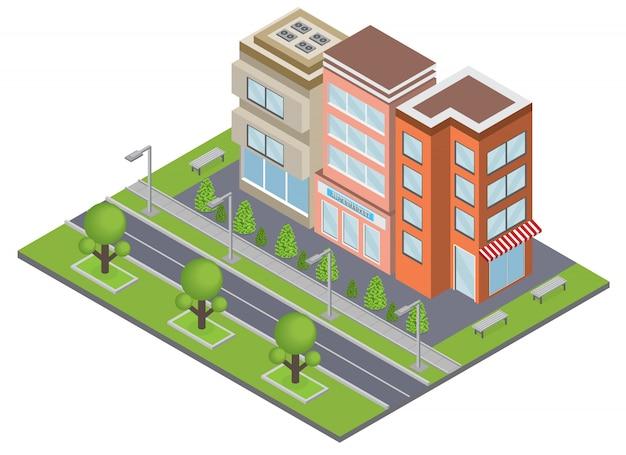 Концепция зданий в пригороде с символами недвижимости и собственности изометрии