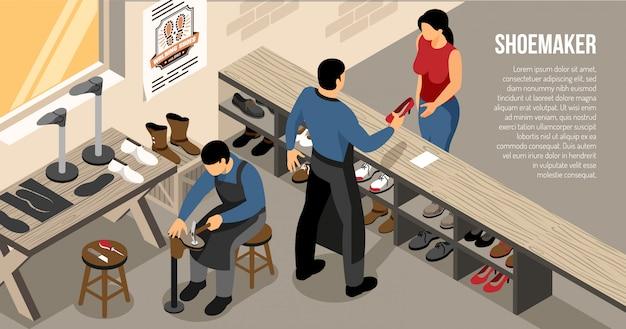 Мастер во время общения с клиентами в обувной мастерской изометрической горизонтальной