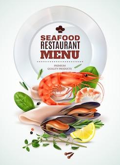 Меню ресторана морепродуктов реалистичный плакат с креветками, кальмарами, мидиями, свежей зеленью, специями, морским коктейлем, ингредиентами.