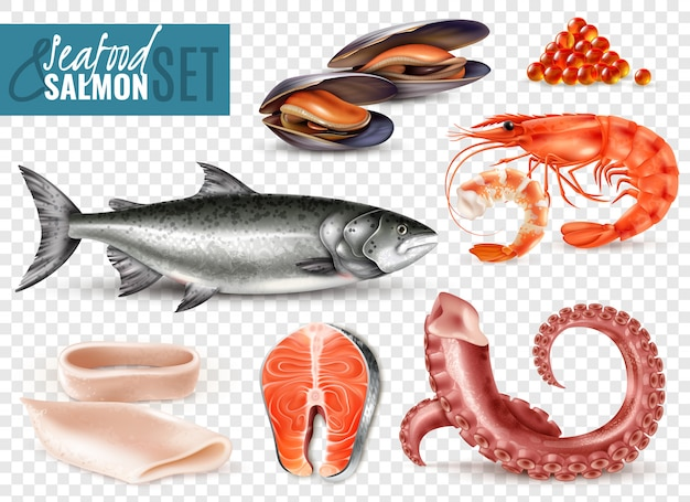 Реалистичный набор из морепродуктов с цельными свежими лососевыми креветками ломтиками кальмара осьминог щупальца мидии прозрачный