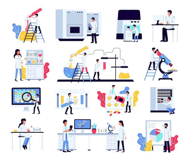 Фармацевтические лабораторные исследования химии ученых с изолированными составами человеческих персонажей лабораторного оборудования и мебели
