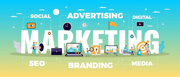Цифровая концепция маркетинга с онлайн-рекламой и медиа символами