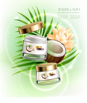 Роскошные питательные кремы для рук и лица с увлажняющим кокосовым маслом, реалистичная композиция с пальмовым листом